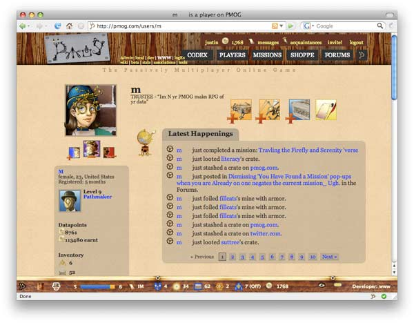 PMOG Player Profile May 2008